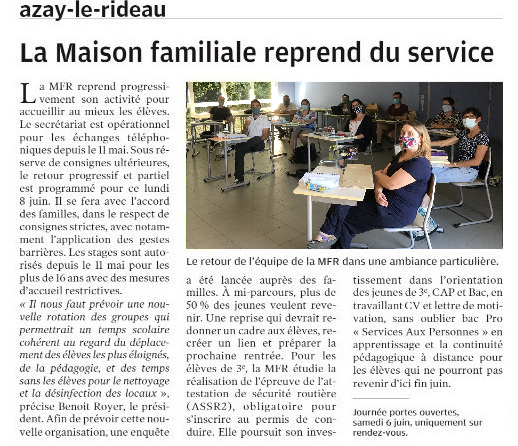Azay-le-Rideau : La Maison Familiale reprend du service