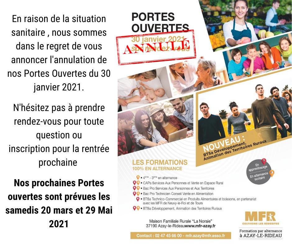 Portes Ouvertes Annulees Mfr Azay Le Rideau